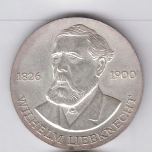EAST GERMANY 20 Mark 1976 silver KM63 - Wilhelm Liebknecht