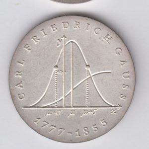 EAST GERMANY 20 Mark 1977 silver KM66 - Carl F. Gauss