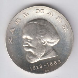 EAST GERMANY 20 Mark 1968 silver KM21 - Karl Marx