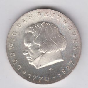 EAST GERMANY 10 Mark 1970 silver KM27.1 - Ludwing Von Beethoven