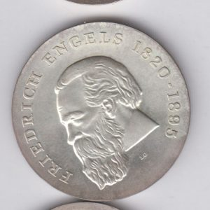 EAST GERMANY 20 Mark 1970 silver KM28 - Freidrich Engels