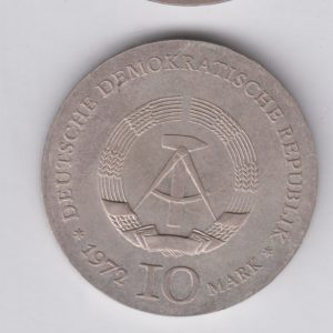 EAST GERMANY 10 Mark 1972 silver KM39 - Heinrich Heine