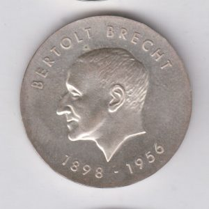 EAST GERMANY 10 Mark 1973 silver KM45 - Bertolt Brecht
